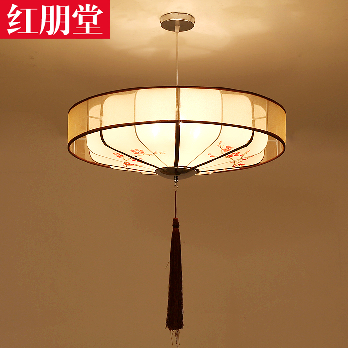 New chinese antique fabric dual suction hanging chandelier modern chinese restaurant round fixtures cozy bedroom lighting