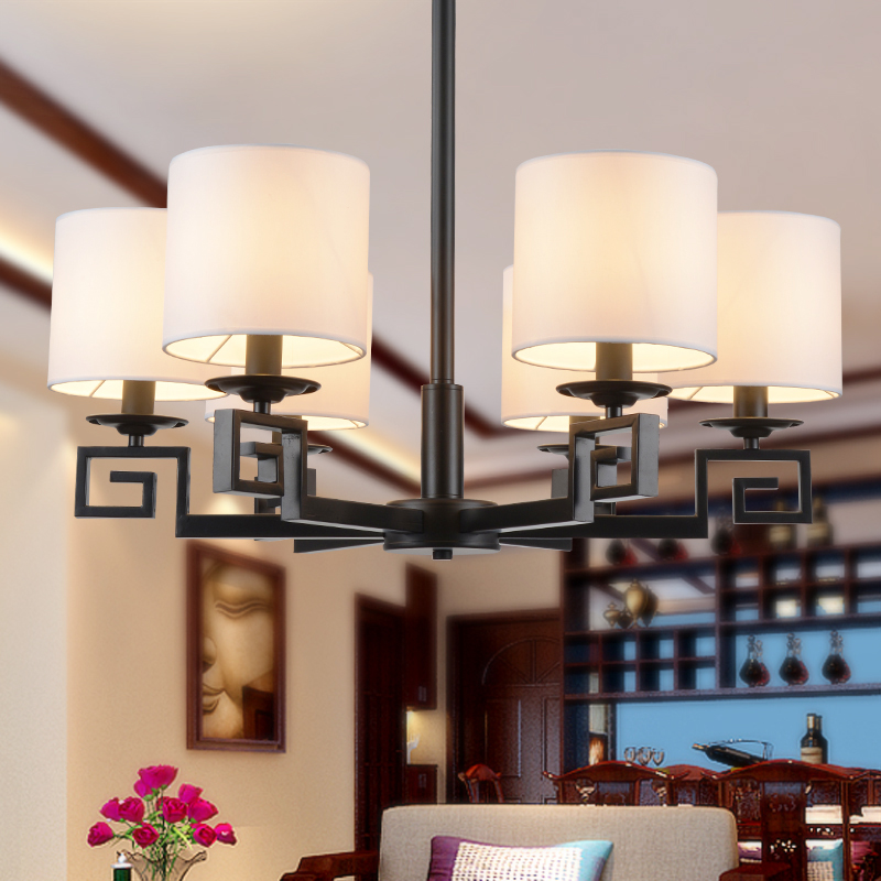 New chinese iron fabric living room led wrought iron chandelier restaurant lamps bedroom modern minimalist chinese antique chandelier