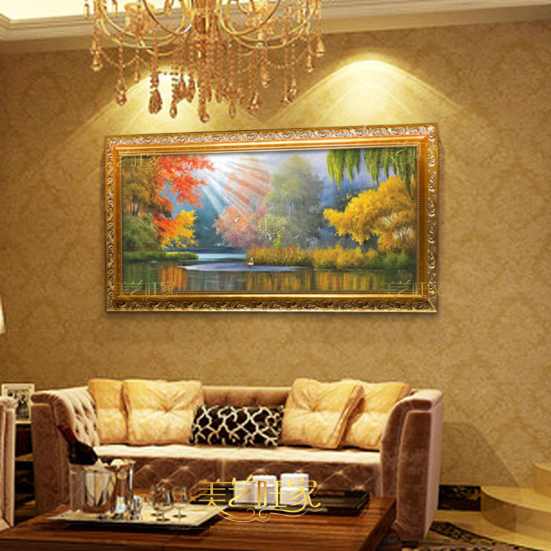 New continental pure hand painted oil painting landscape painting decorative painting the living room book room restaurant hotel entrance framed painting wall painting