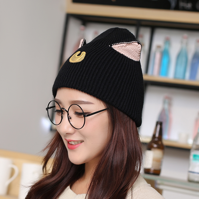 Get Quotations · New cute cat ears wool hat knitted hat autumn and winter  female korean student paul warm 732b93aaf592