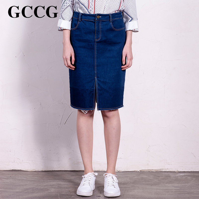 New fall skirt GCCG2016 burrs denim korean version of a solid color fashion solid color skirts package hip skirt female