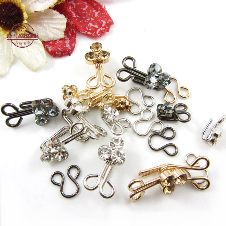 New for buttoned collar with diamond buckle small metal hook buckle clasp hook buckle clasp buckle diy handmade clothing accessories sew