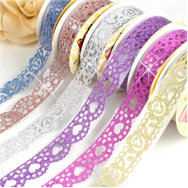 New korea diy album essential decorative accessories fashion hollow flash powder bud silk tape decorative tape