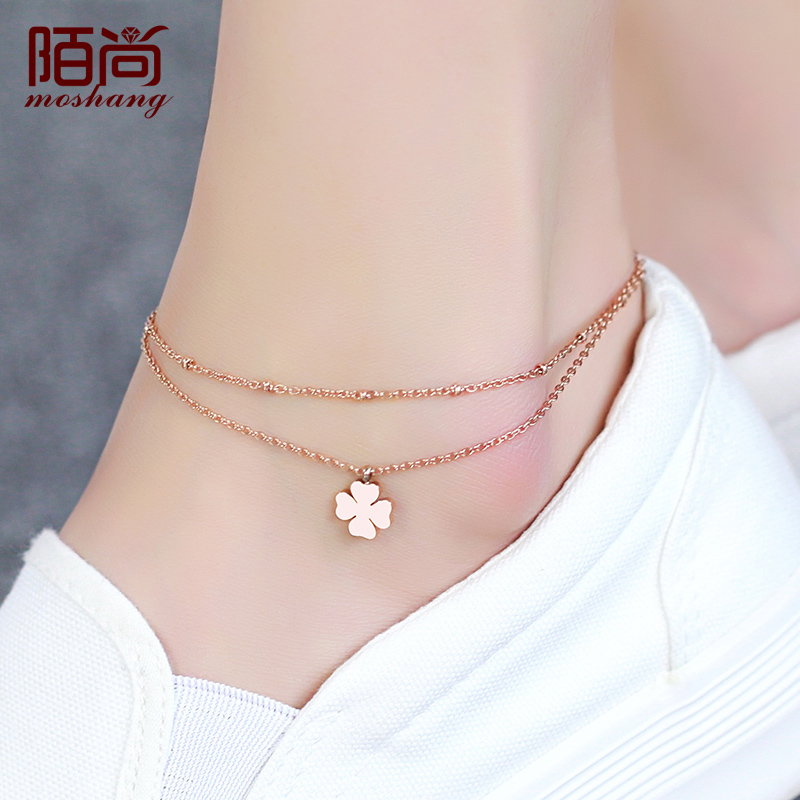 New korean fashion rose gold plated anklet lucky clover color gold anklets tassel single diamond anklets