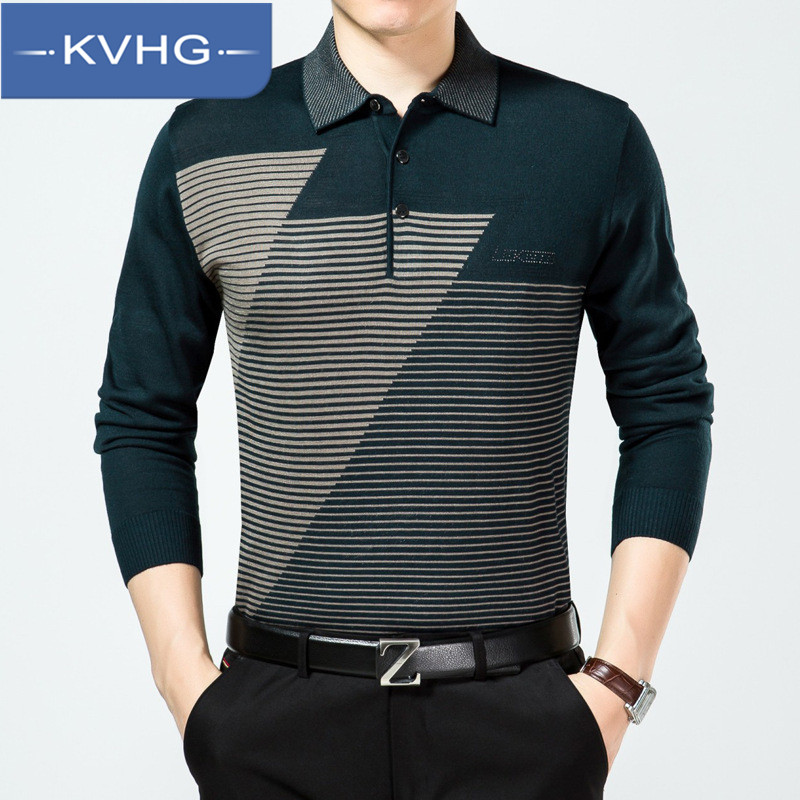 New korean version of KVHG2016 lapel middle-aged men's long sleeve sweater hedging sweater coat wild tide 3540