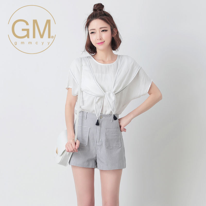 New korean version of the round neck bow tie GMMCYY2016 coat miss han ban slim short sleeve t-shirt on 4361
