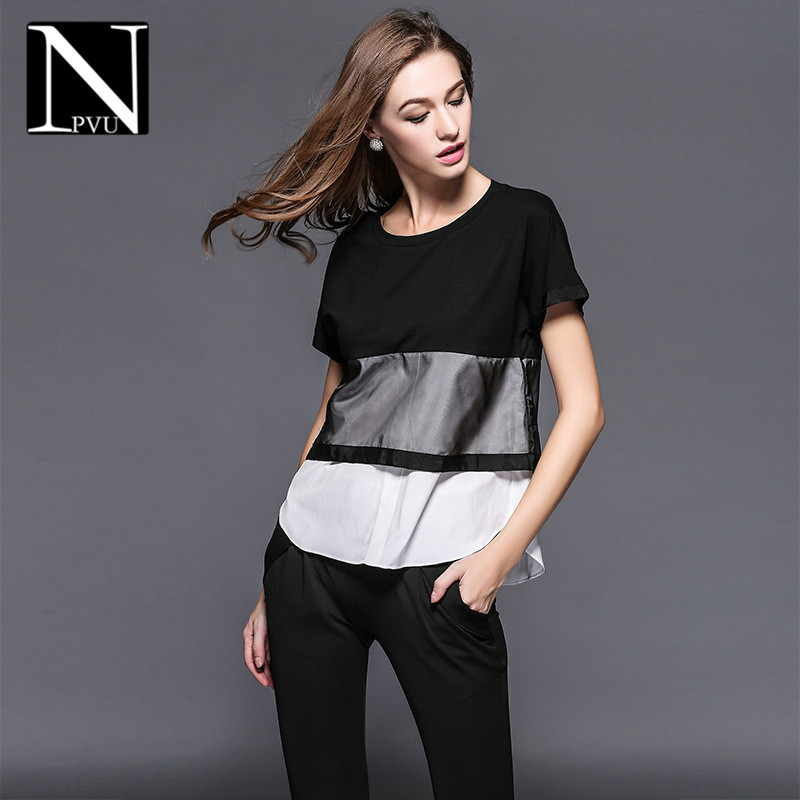 New large size women lace stitching slim was thin in europe and america NPVU2016 wild t-shirt chiffon shirt tide 6102