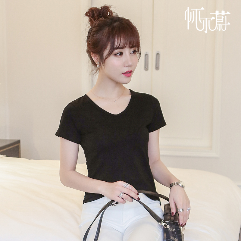 New men's sleeve female t-shirt solid color cotton v-neck short sleeve t-shirt female black color large size was thin t-shirt bottoming shirt