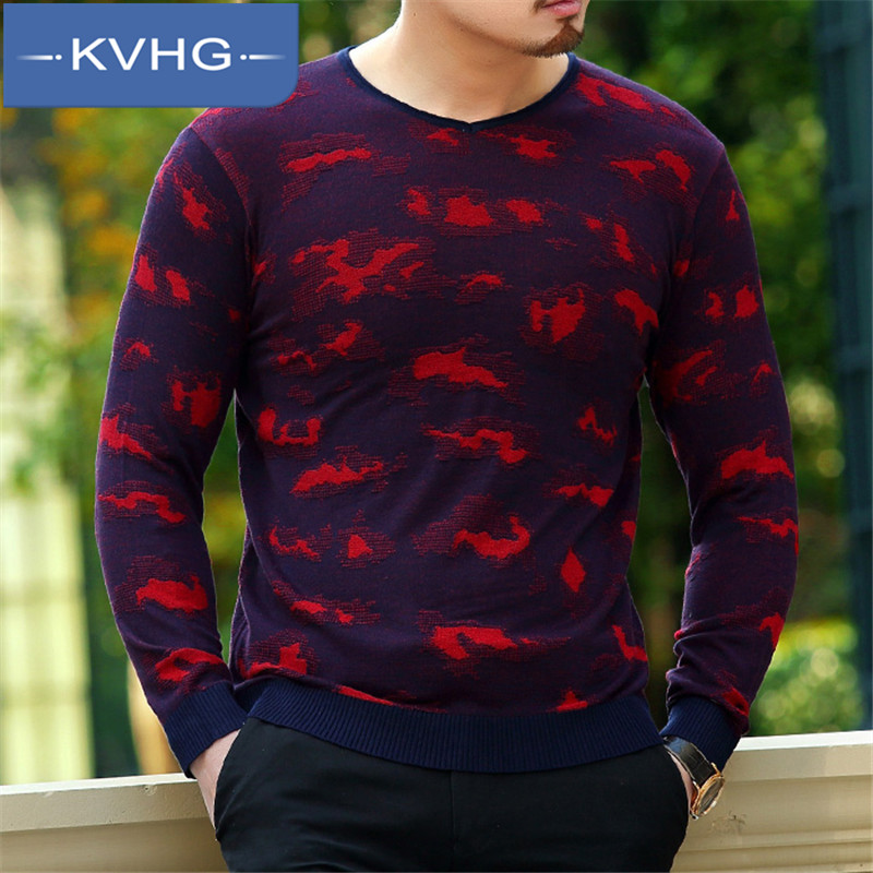 New middle-aged KVHG2016 washed slim leisure wild men's fashion men's long sleeve v-neck t-shirt 3374