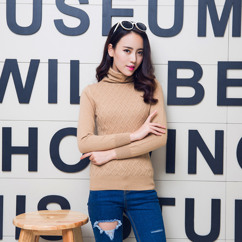 New miss gao ling cashmere sweater piles collar cashmere sweater bottoming shirt slim hedging big yards genuine cashmere sweater