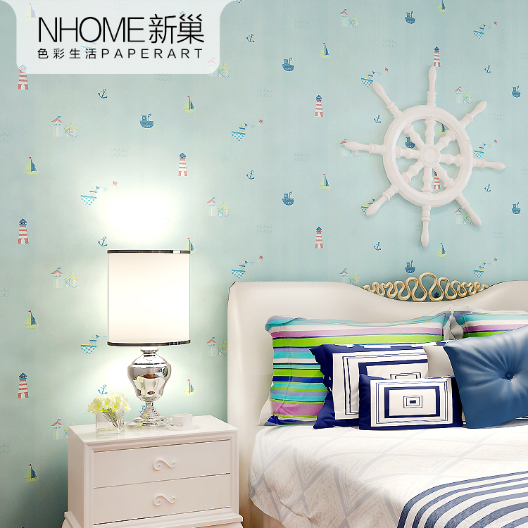 Get Quotations · New nest sailboat environmental breathable nonwoven wallpaper cute children's room bedroom wallpaper cartoon cute baby