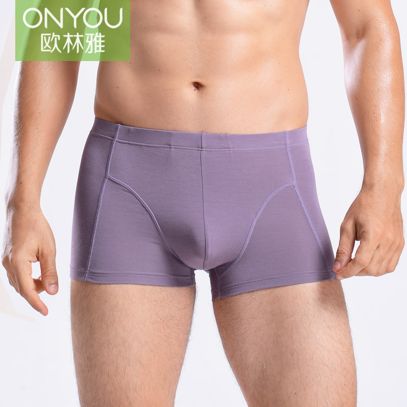New oulin ya bamboo fiber men's underwear big yards casual fashion simple large convex pants NN072