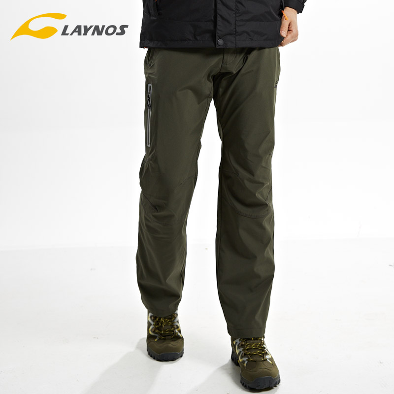 New piece plus velvet autumn and winter outdoor soft shell fleece trousers couple windproof waterproof hiking pants male and female models