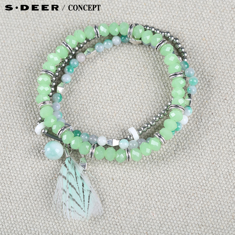 [New] sdeer st. dior counters authentic women's fresh light green bracelet multilayer group S15284301
