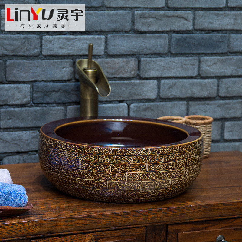 New shipping jingdezhen ceramic art basin basin wash basin wash basin wash basin carved plump
