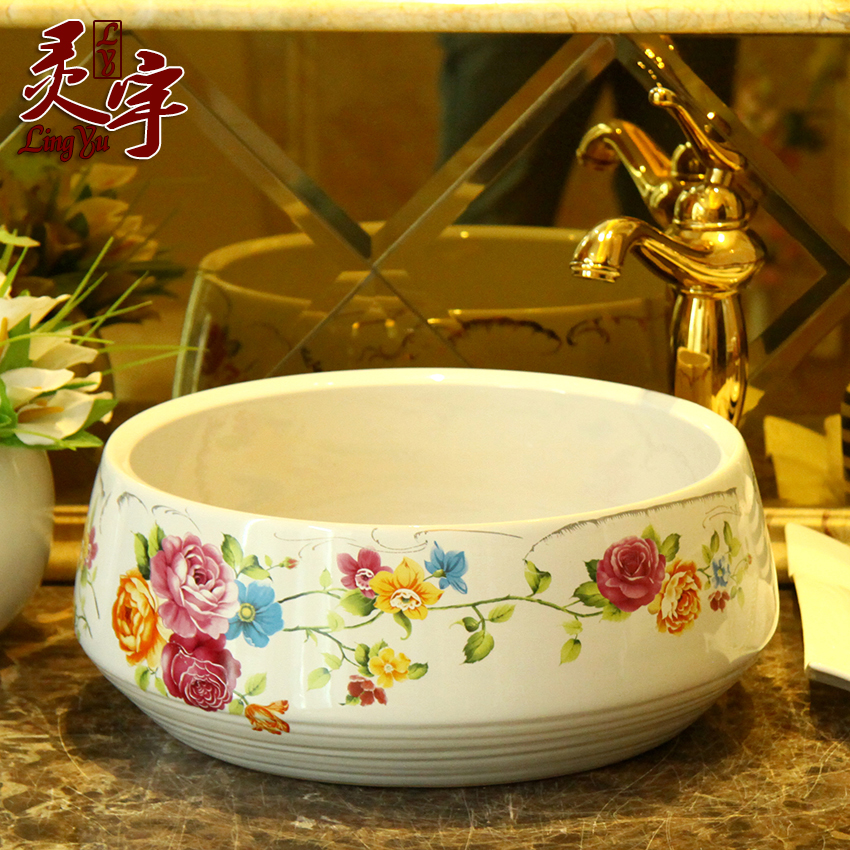 New shipping jingdezhen ceramic art basin basin wash basin wash basin wash basin garden of red roses