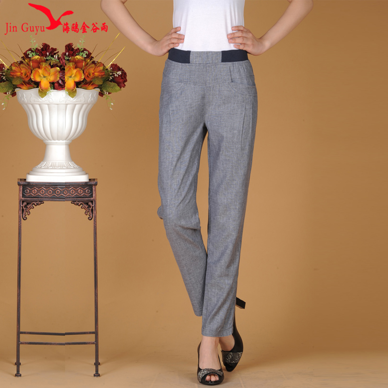 New spring and summer cotton summer pants elastic waist linen wide leg pants female big yards straight casual trousers asia