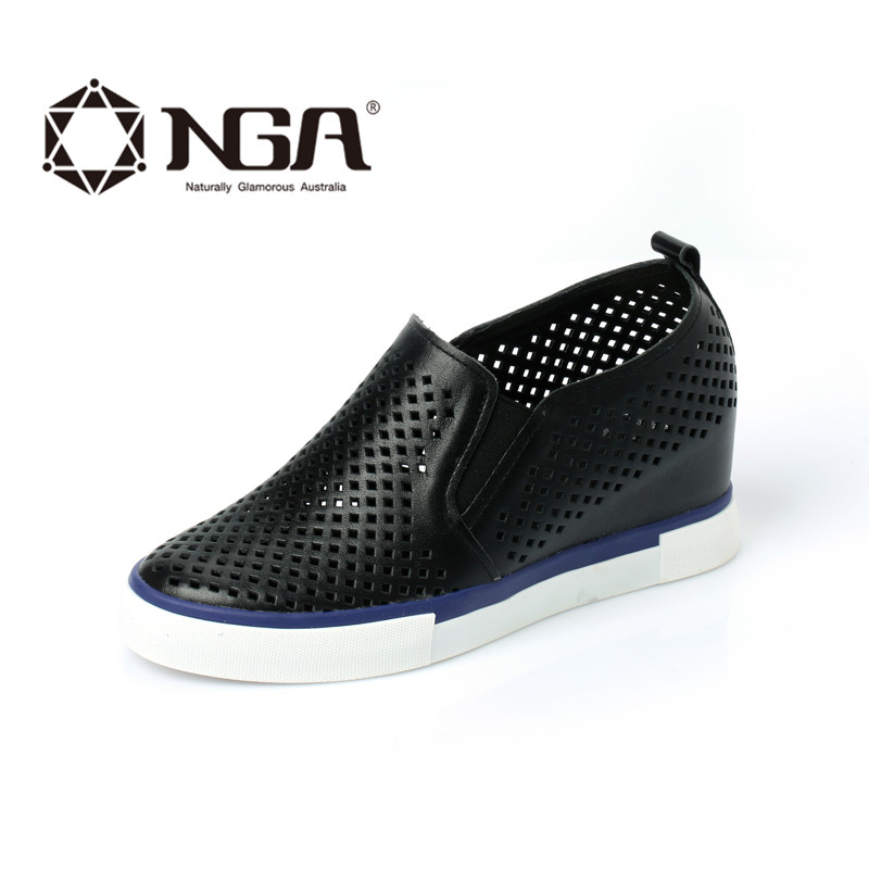 New spring and summer NGA2016 perforated leather shoes increased within the black and white shoes casual shoes summer shoes