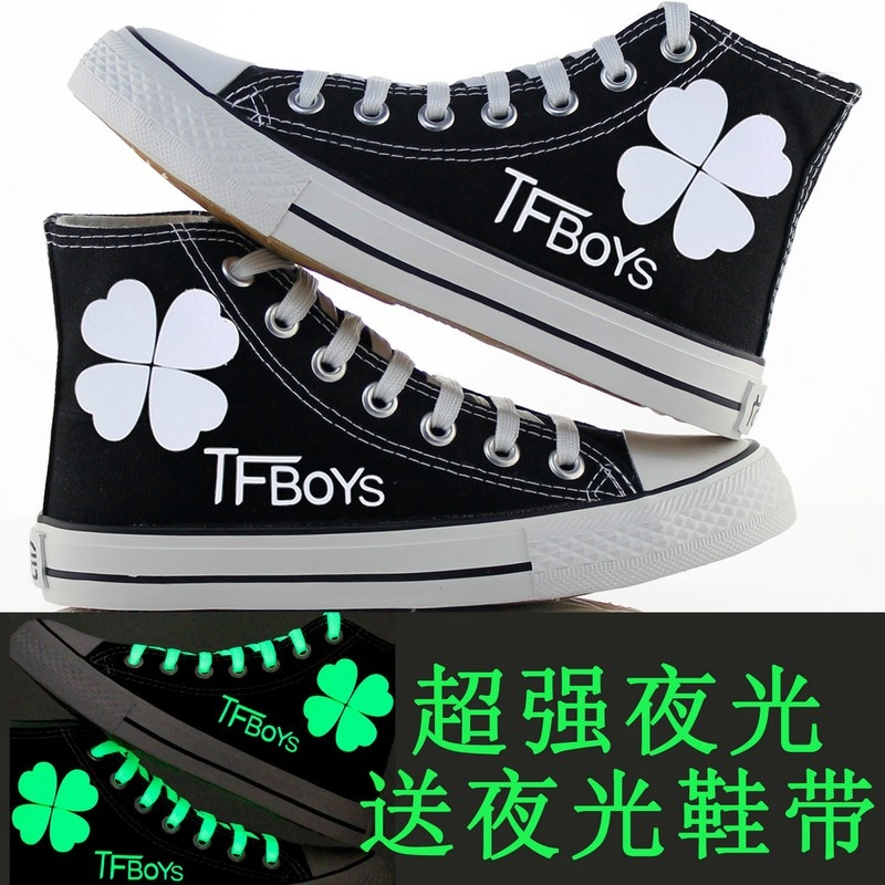 New spring and summer shoes large size shoes korean women's casual shoes fluorescent luminous tfboys students canvas shoes to help