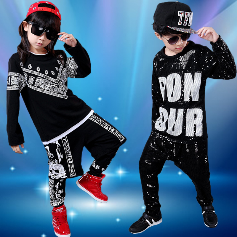 New summer children's jazz dance clothing for men and women students loose sweater dress hip-hop hip-hop clothing ds costumes practicing skills