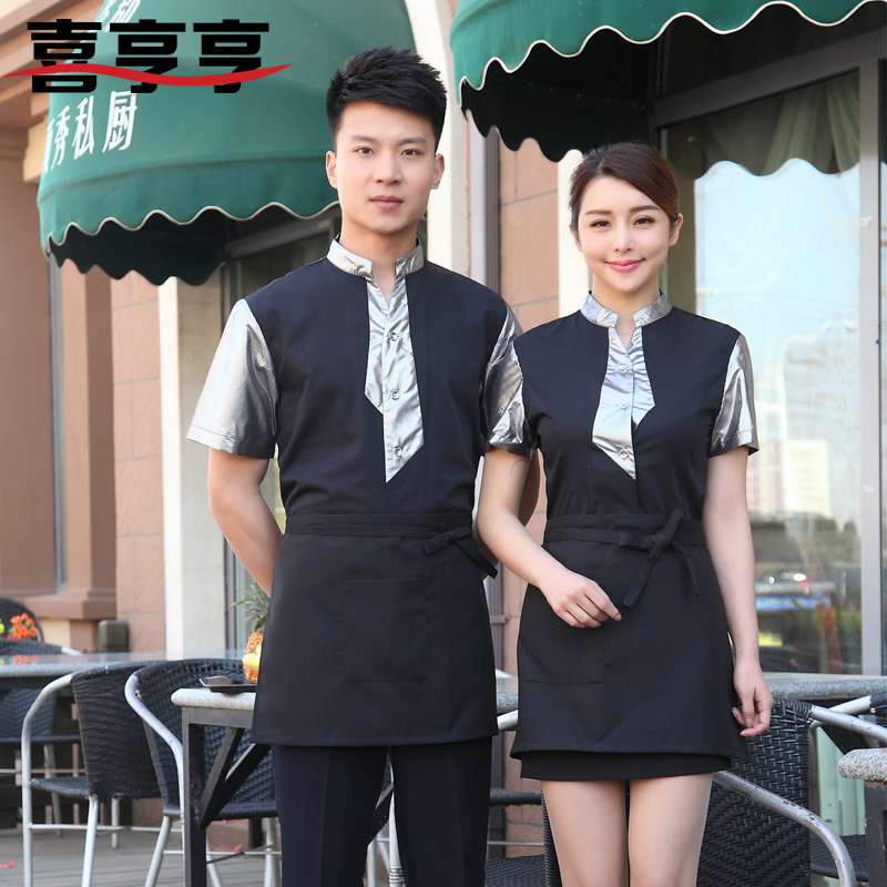 New summer clothes for men and women hotel hotel sleeved overalls hotel restaurant waiter uniform overalls tooling