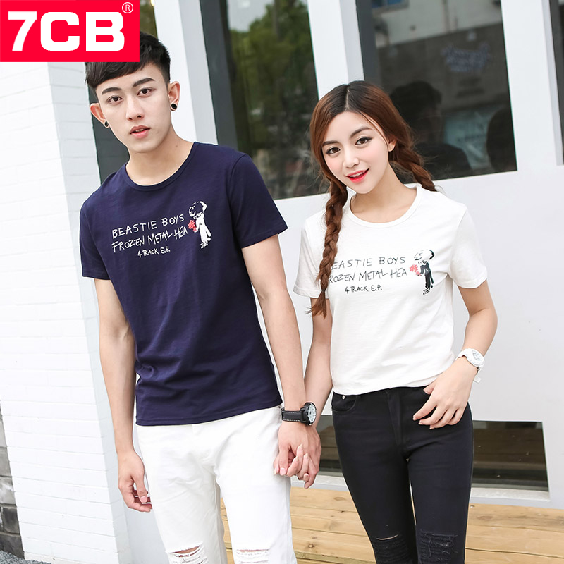New summer lovers 7CB2016 alphabet characters printed round neck casual lovers short sleeve t-shirt sleeve men and women
