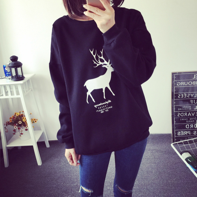 New wave of large size wild bottoming shirt long sleeve t-shirt female loose clothes korean version of the students in spring and autumn women 2016