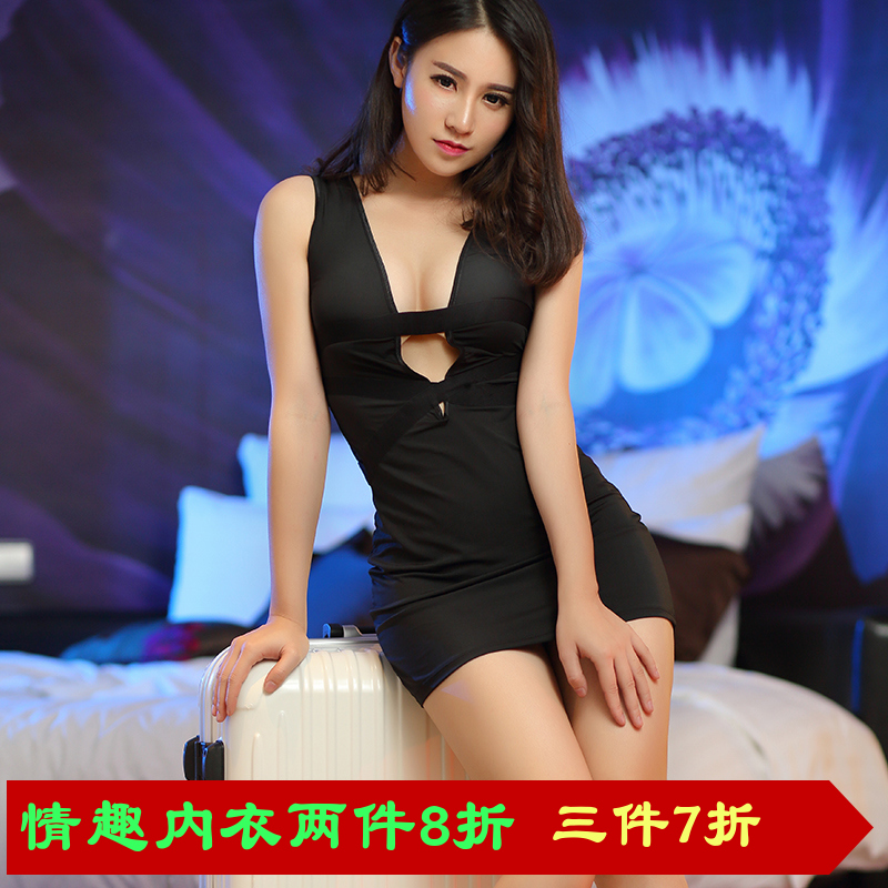 New wave of women's fashion bag hip nightclub sexy low cut european and american v-neck tight jumpsuit skirt suit sexy lingerie