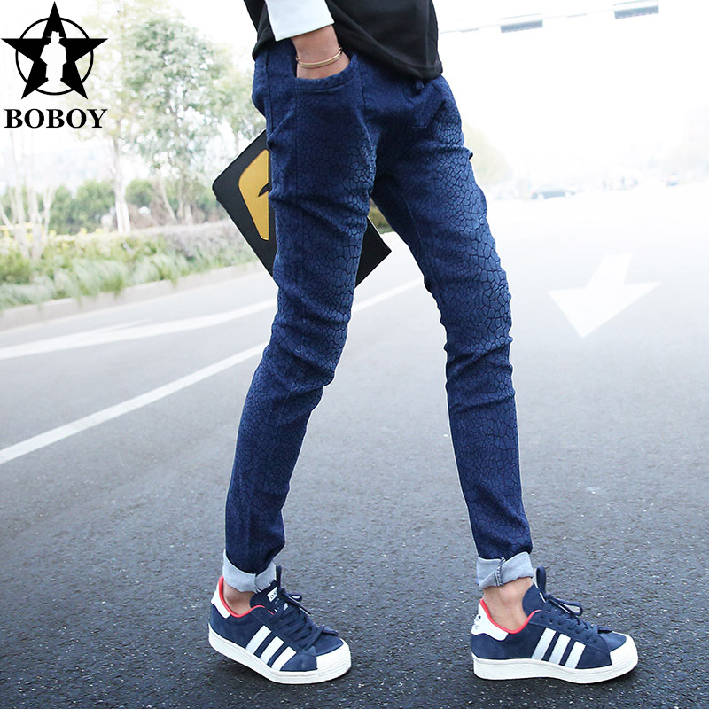 New winter boboy2015 leg trousers male elastic tether jeans male korean version of spring beam leg pants tide