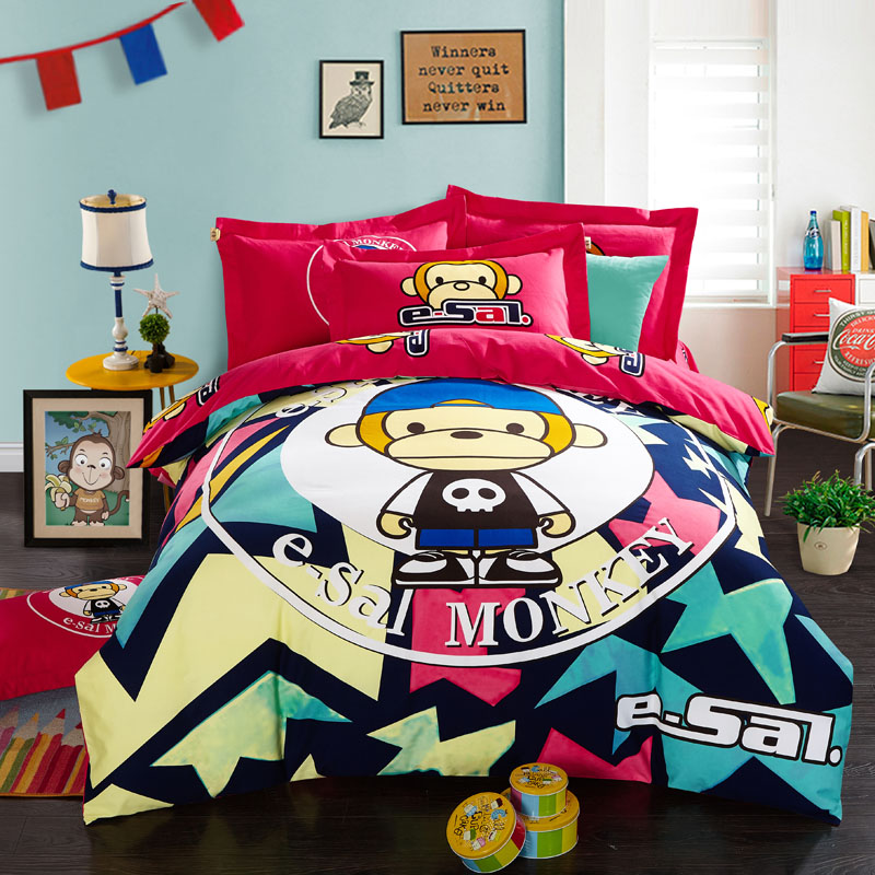 New winter cartoon cotton linen bedding three family of four thick brushed cotton children's dorm bedding