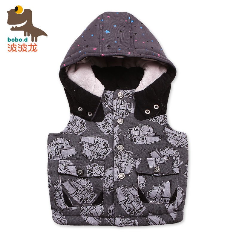 New winter children's clothing boys casual wave dragon cartoon cotton baby vest vest vest thick folder