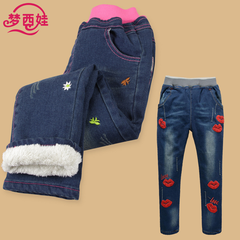 New winter plus velvet jeans denim trousers pants big virgin girls trousers children casual pants feet pencil jeans