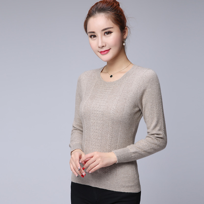 New winter pure mountain cashmere sweater women slim solid round neck short section hedging sweater knit sweater bottoming