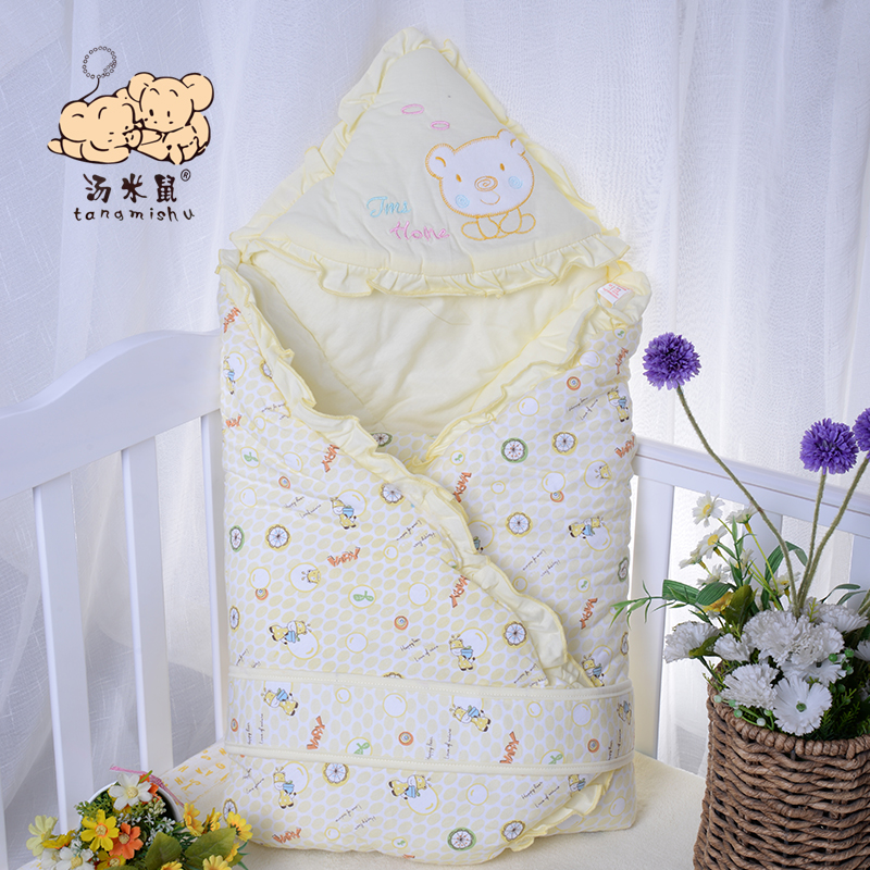 Newborn baby was coated spring and autumn cotton baby blankets hold by baojin swaddle blankets baby with