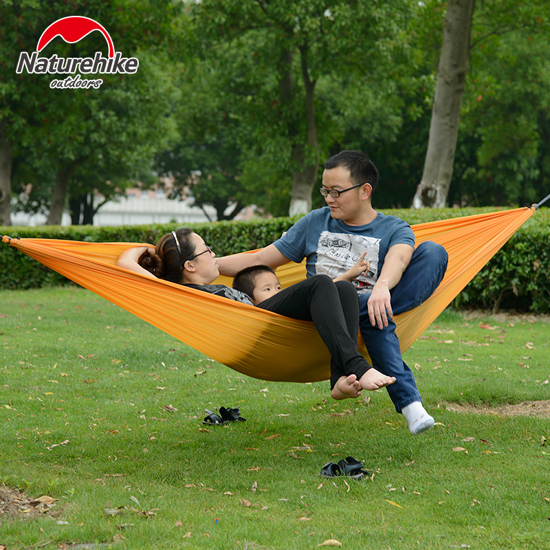Nh outdoor camping hammock swing hammock dormitory single or double parachute cloth hammock leisure light holes