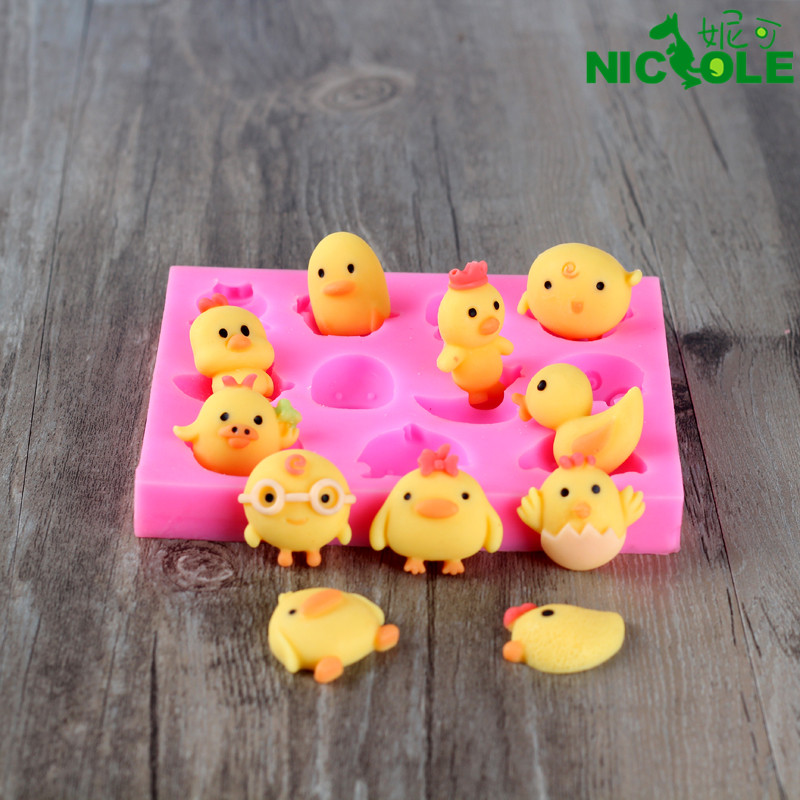 Nicole diy baking cartoon chick and the duck handmade chocolate silicone mold silicone mold jelly pudding mold