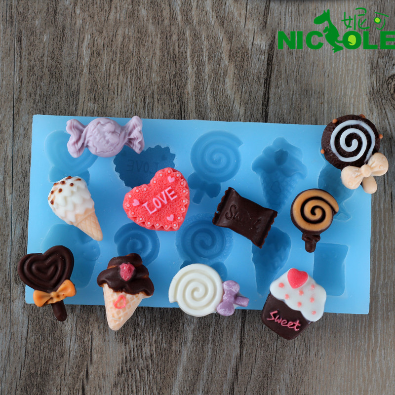 Nicole diy baking chocolate ice cream lollipop candy egg mold diy fondant cake decorating mold silicone mold