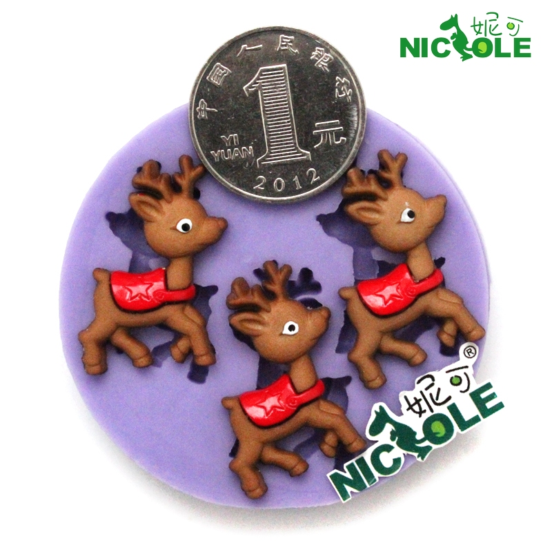 Nicole diy silicone mold resin clay mini deer sika deer chocolate fondant cake decorating mold