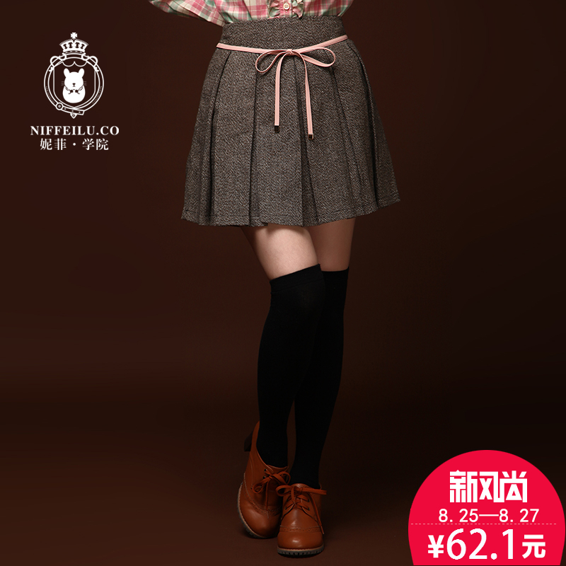 Nifei college autumn and winter college wind sweet girl bow pleated woolen skirts skirt skirt student