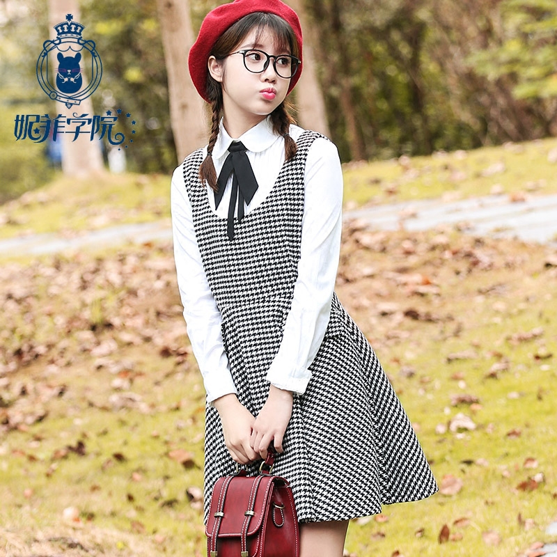 Nifei college girl student college wind fall and winter sweet houndstooth plaid woolen vest dress strap dress