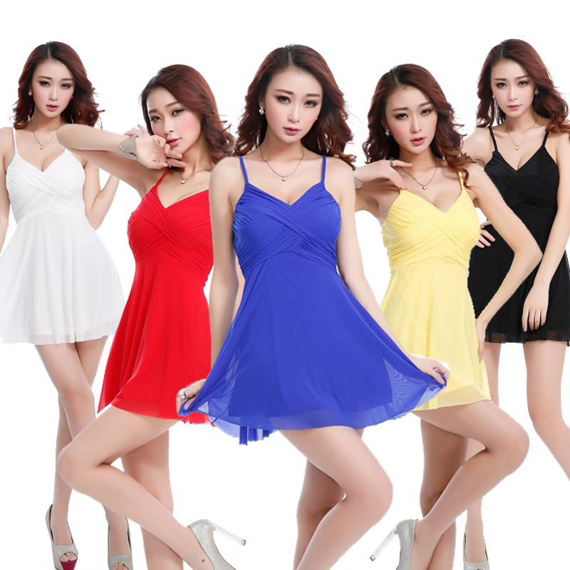 Nightclub ladies summer 2016 slim sexy halter dress hotel sauna technicians work clothes foot foot care