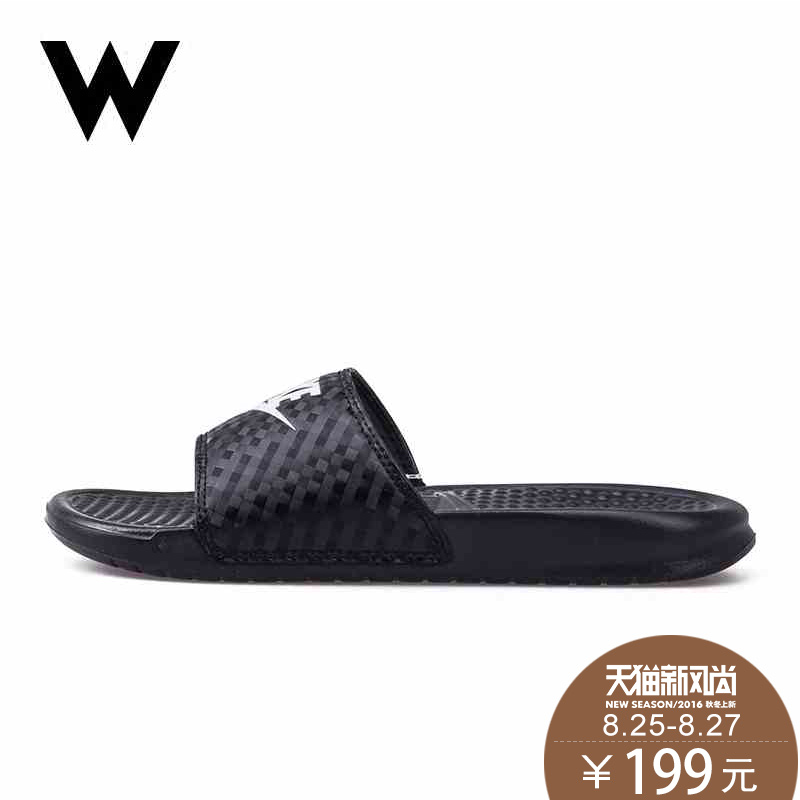 84b89fd9c Get Quotations · Nike benassi slide oreo black and white color female  sports and leisure sandals and slippers 343881