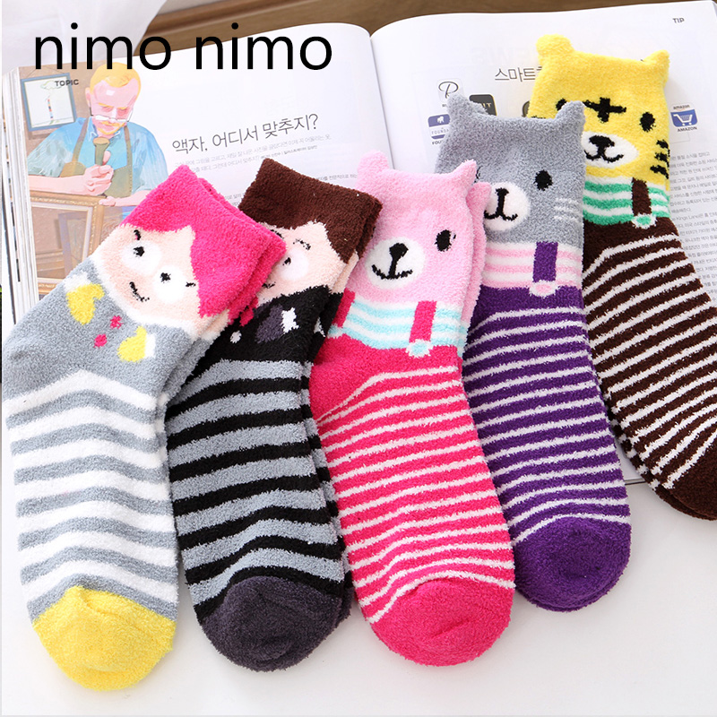 Nimonimo korean cute cartoon creative personality ms. thick warm socks stuffed socks in tube socks autumn and winter