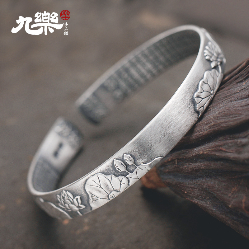 Nine lok lok ling's's silver bracelet opening fine silver to do the old retro matte matte brushed dutch flowers for her mother yinzhuo children