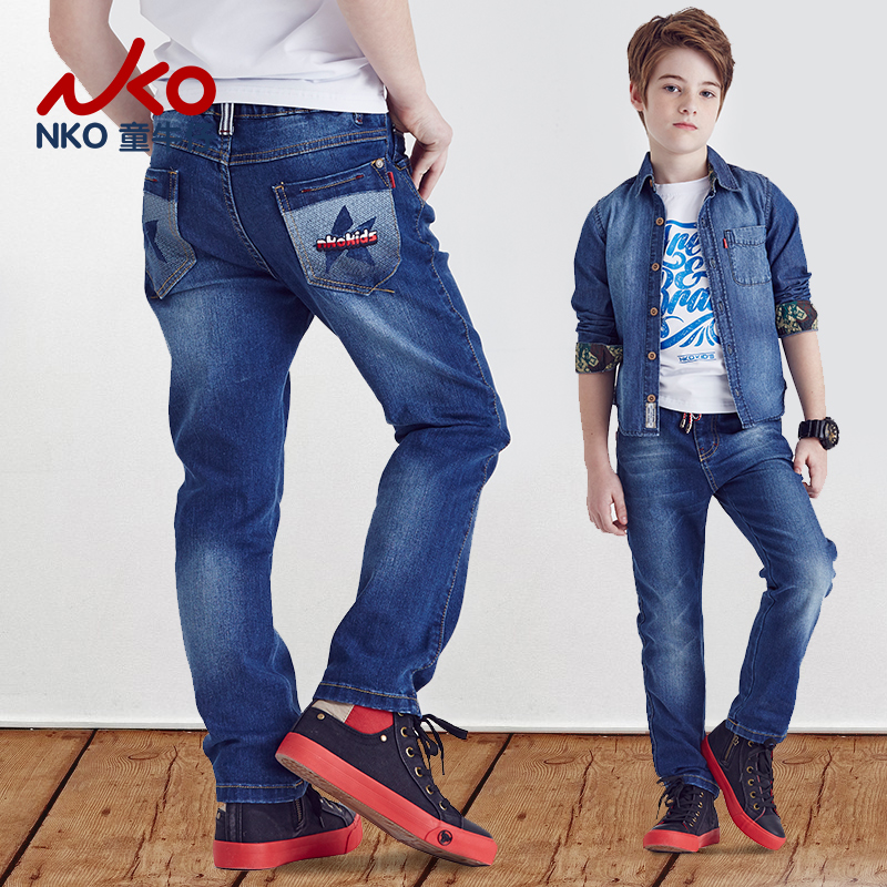 Nko kids spring and autumn new slim straight jeans elastic tether boys long pants influx of european and american big virgin