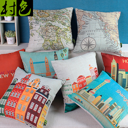 Nordic creative personality pillow fashion construction home linen cotton fabric cushion lumbar cushion sets of special clearance