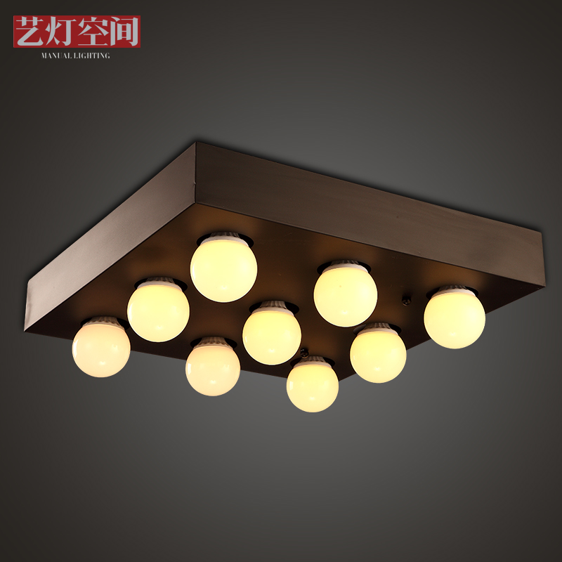 Nordic creative personality restaurant ceiling lights minimalist living room bedroom den square ceiling retro matte black wrought iron