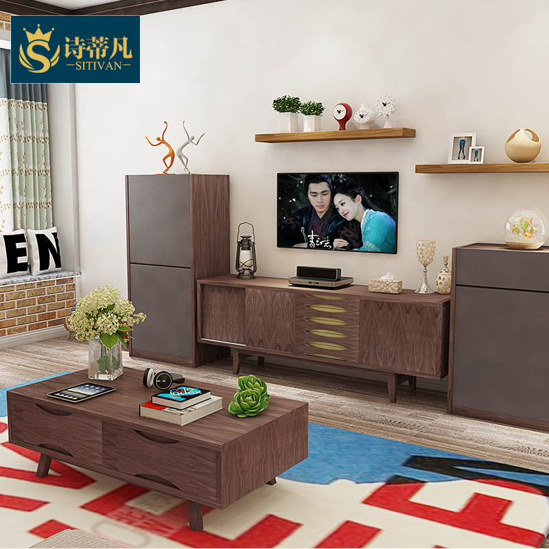 Nordic ikea modern minimalist scandinavian style furniture tv cabinet walnut wood living room small apartment ash