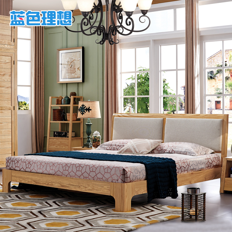 Nordic pure solid wood bed modern minimalist bedroom furniture wood double bed soft backrest japanese ash wood 1.8 m