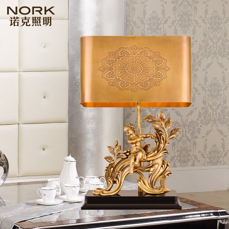Nork/knox carved handmade table lamp lighting european luxury bedroom den full copper table lamp copper lamp 44474 3